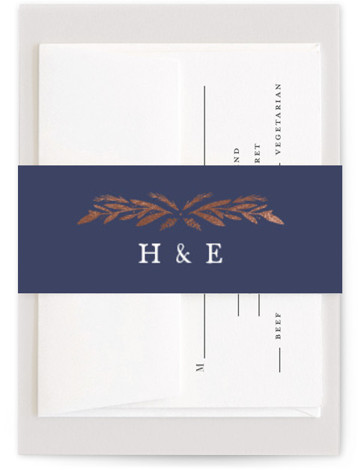 This is a botanical, rustic, blue Belly Bands by Olivia Raufman called Florabel with Foil Pressed printing on Signature Text in Belly Band Flat Card format. A bold, elegant wedding invitation framed by gilded leaves and branches.