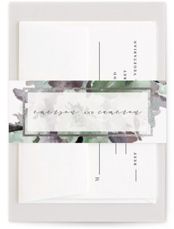 This is a botanical, traditional, blue, green Belly Bands by Grace Kreinbrink called Gilded Drape with Foil Pressed printing on Signature Text in Belly Band Flat Card format. Hand painted watercolor wedding invitation featuring modern florals and gilded accents.