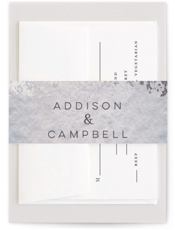 This is a bohemian, blue, silver Belly Bands by Grace Kreinbrink called Mood with Foil Pressed printing on Signature Text in Belly Band Flat Card format. Delicate, soft, classic wedding invitation featuring muted and moody watercolor backdrop and a soft ...