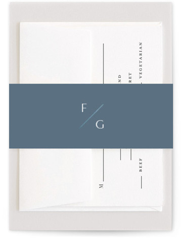 This is a portrait simple and minimalist, blue Belly Bands by Amy Kross called The Bias with Foil Pressed printing on Signature Text in Belly Band Flat Card format. This modern, minimal wedding invitation design features a clean and simple ...