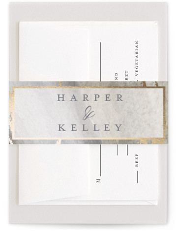 This is a grey, gold Belly Bands by Grace Kreinbrink called Coastal Lines with Foil Pressed printing on Signature Text in Belly Band Flat Card format. Coastal inspired hand painted watercolor backdrop with gilded foil accents and soft muted color ...