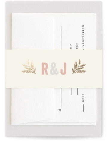 This is a metallic, vintage, gold, pink Belly Bands by Hooray Creative called Rustic Charm with Foil Pressed printing on Signature Text in Belly Band Flat Card format. Select a matching belly band to hold together your wedding suite and ...