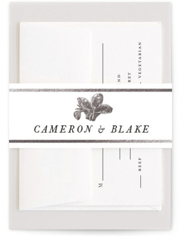 This is a silver Belly Bands by Christie Kelly called Wild Blooms with Foil Pressed printing on Signature Text in Belly Band Flat Card format. Traditional meets bohemian in this wedding invitation. A lovely and lush bouquet surrounds the details ...