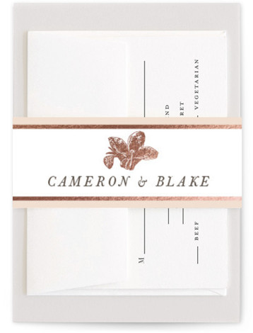 This is a pink, rosegold Belly Bands by Christie Kelly called Wild Blooms with Foil Pressed printing on Signature Text in Belly Band Flat Card format. Traditional meets bohemian in this wedding invitation. A lovely and lush bouquet surrounds the ...