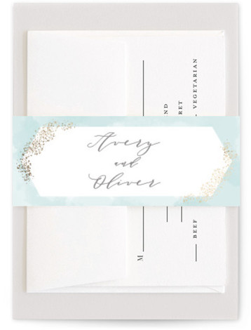 This is a modern, painterly, blue Belly Bands by Kristie Kern called Sparkling Champagne with Foil Pressed printing on Signature Text in Belly Band Flat Card format. Pastel watercolor is highlighted with sparkling rose gold foil.