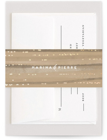 This is a landscape painterly, brown Belly Bands by Grae Sales called Sparkles with Foil Pressed printing on Signature Text in Belly Band Flat Card format. This design features layers of watercolor strokes lined by delicate lines of foil sparkles ...