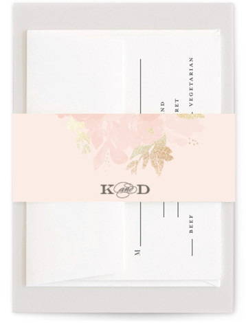 This is a landscape botanical, painterly, rustic, pink Belly Bands by Sarah Brown called Ambrosia with Foil Pressed printing on Signature Text in Belly Band Flat Card format. This elegant wedding invitation features hand painted florals with gold foil accents ...