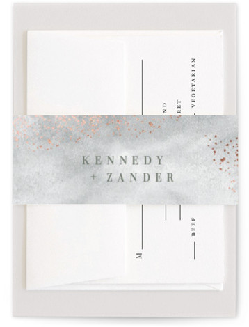 This is a portrait painterly, green Belly Bands by Kristie Kern called Zara with Foil Pressed printing on Signature Text in Belly Band Flat Card format. A modern invitation featuring soft, abstract watercolor and delicate gold foil details.