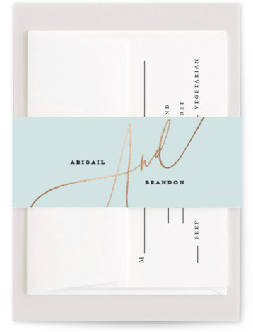 This is a portrait bold and typographic, blue Belly Bands by Simona Camp called Photo Vows with Foil Pressed printing on Signature Text in Belly Band Flat Card format. A foil wedding invitation featuring a large photo and glowing vows. ...