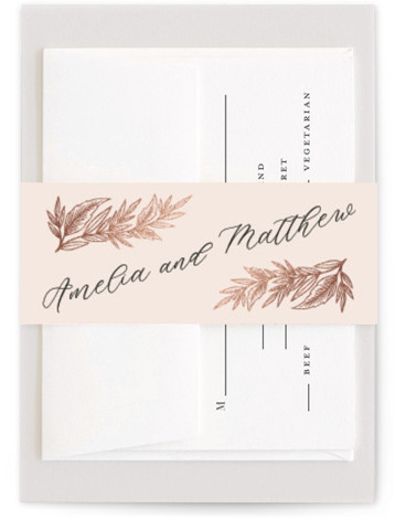 This is a portrait botanical, rustic, pink Belly Bands by Katharine Watson called Slanted Script Leaves with Foil Pressed printing on Signature Text in Belly Band Flat Card format. This design uses a formal script combined with rustic hand drawn ...
