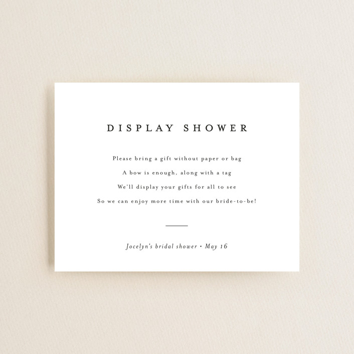 """""""Classic Display Shower"""" - Bridal Shower Insert Cards in Snow by Minted."""