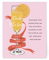 This is a pink bridal shower insert card by Shiny Penny Studio called Mimosa Brunch with standard printing on signature in standard.