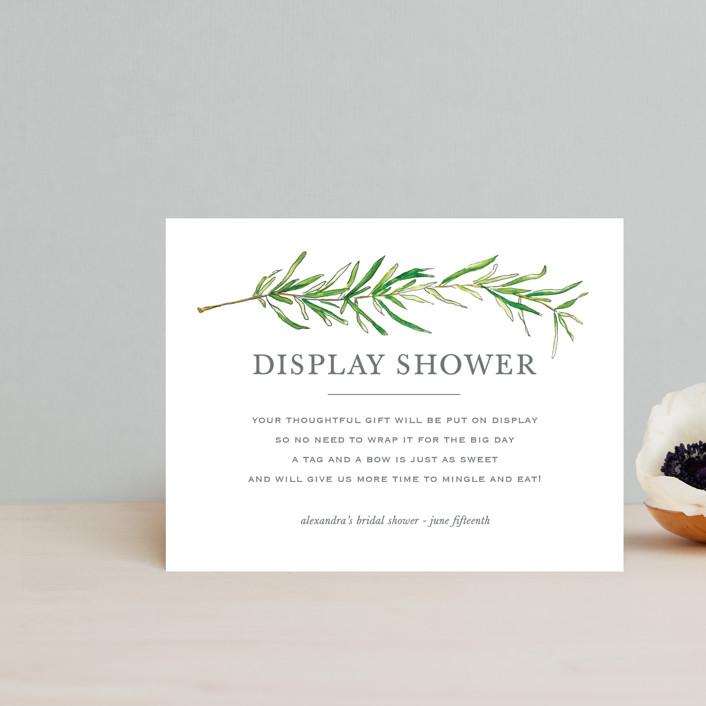 """Simple Sprigs"" - Bridal Shower Insert Cards in Fern by Erin Deegan."