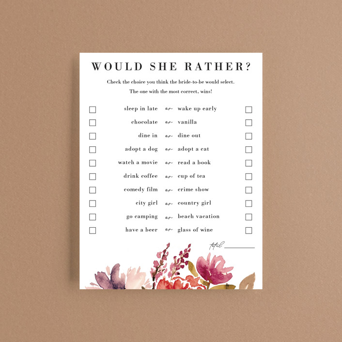 """""""Autumn Vows"""" - Bridal Shower Insert Cards in Burnt Orange by Chris Griffith."""