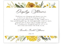This is a yellow bridal shower insert card by Susan Moyal called Organic Florals with standard printing on signature in standard.