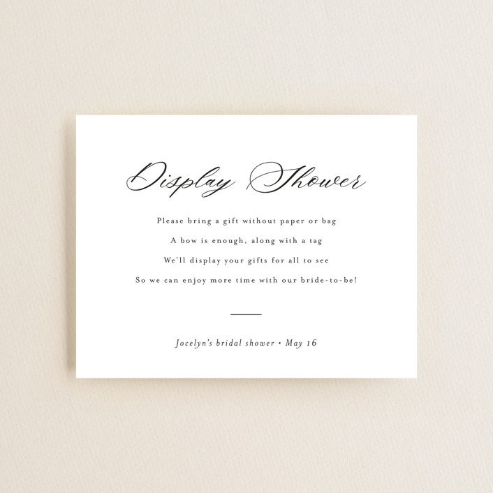 """""""Script Display Shower"""" - Bridal Shower Insert Cards in Snow by Minted."""