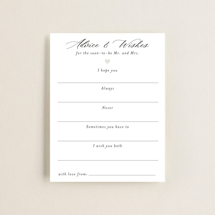 """""""Script Wishes For Couple"""" - Bridal Shower Insert Cards in Snow by Minted."""