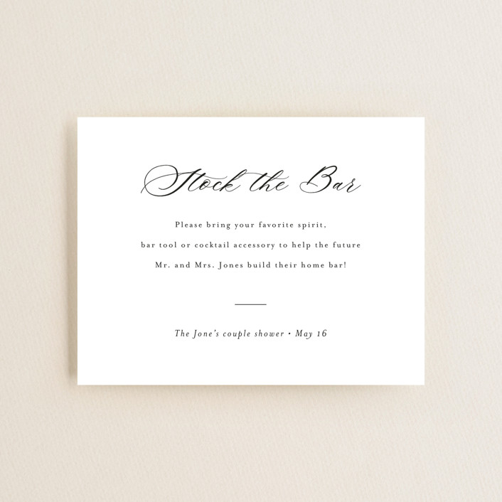 """""""Script Stock the Bar"""" - Bridal Shower Insert Cards in Snow by Minted."""