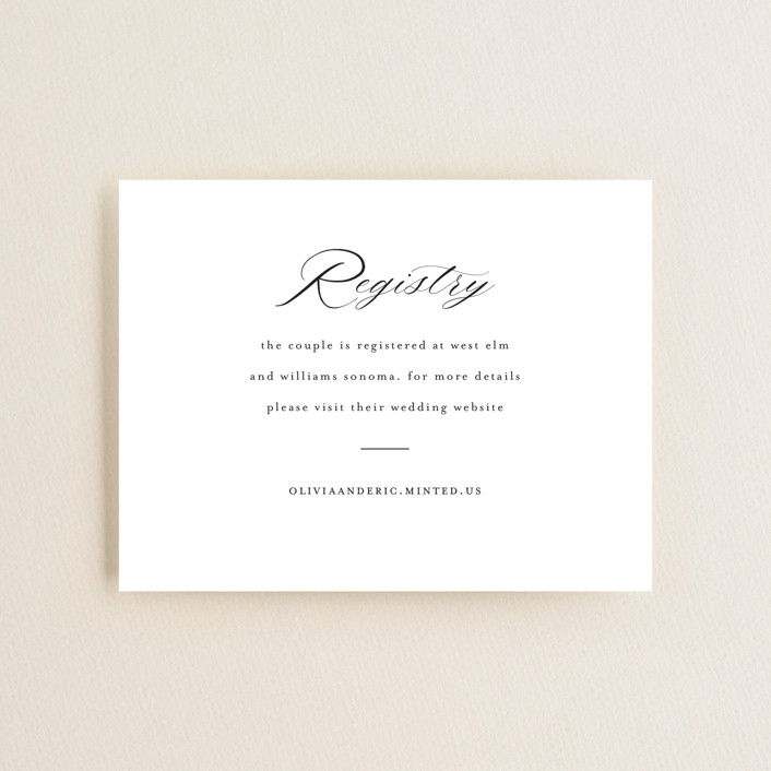 """""""Script Registry"""" - Bridal Shower Insert Cards in Snow by Minted."""