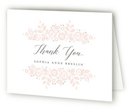 This is a pink baby thank you card by Jessica Williams called Floral Wrap with letterpress printing on bright white letterpress paper in standard.
