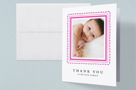 Happy scallop Letterpress Birth Announcements Thank You Cards