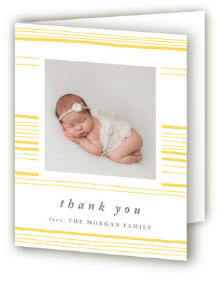 Chic Stripes Letterpress Birth Announcements Thank You Cards