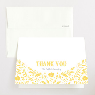Floral Announcement Letterpress Birth Announcements Thank You Cards