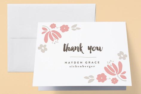 Garden Letterpress Birth Announcements Thank You Cards