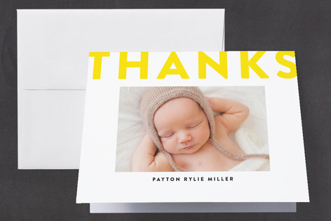 Boldly Stated Letterpress Birth Announcements Thank You Cards