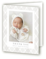 This is a grey baby thank you card by Angela Garrick called trellis with letterpress printing on bright white letterpress paper in standard.