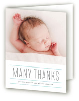 This is a pink baby thank you card by Roxy Cervantes called Iconic with letterpress printing on bright white letterpress paper in standard.