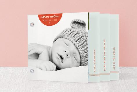 Modern Tiny Heart Birth Announcement Minibook™ Cards