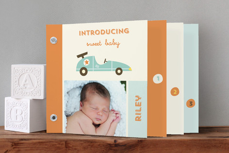 Vintage Toy Car Birth Announcement Minibook™ Cards