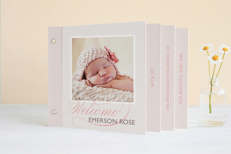 With Joy Birth Announcement Minibook™ Cards