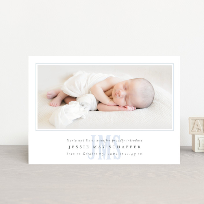 """""""Classic Monogram"""" - Preppy Birth Announcement Petite Cards in Sky by Fig and Cotton."""