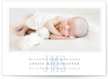 This is a blue petite birth announcement by Fig and Cotton called Classic Monogram with standard printing on smooth signature in petite.