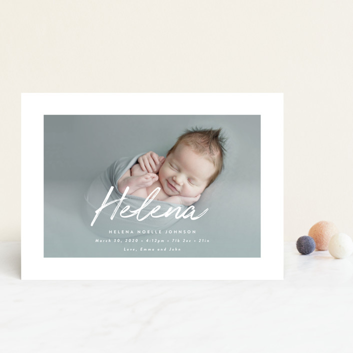 """Helena"" - Modern Birth Announcement Petite Cards in Pearl by Lisa Assenmacher."