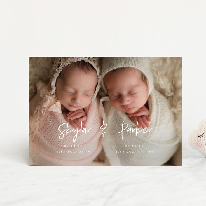 """Twin Names"" - Modern Birth Announcement Petite Cards in Bubblegum by Vera Lim."