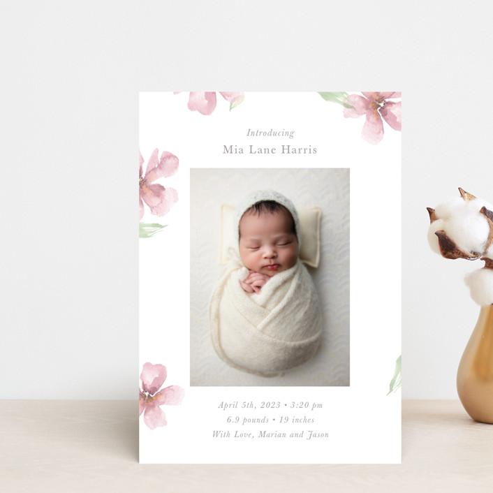 """Flower Petals"" - Birth Announcement Petite Cards in Petals by Melinda Denison."
