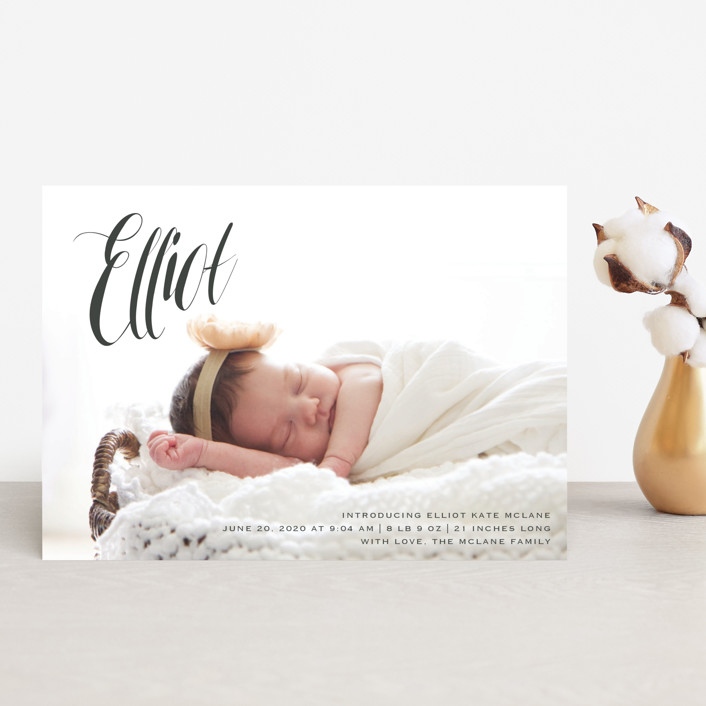 """""""In the Clouds"""" - Modern Birth Announcement Petite Cards in Slate by Kasia Labocki."""