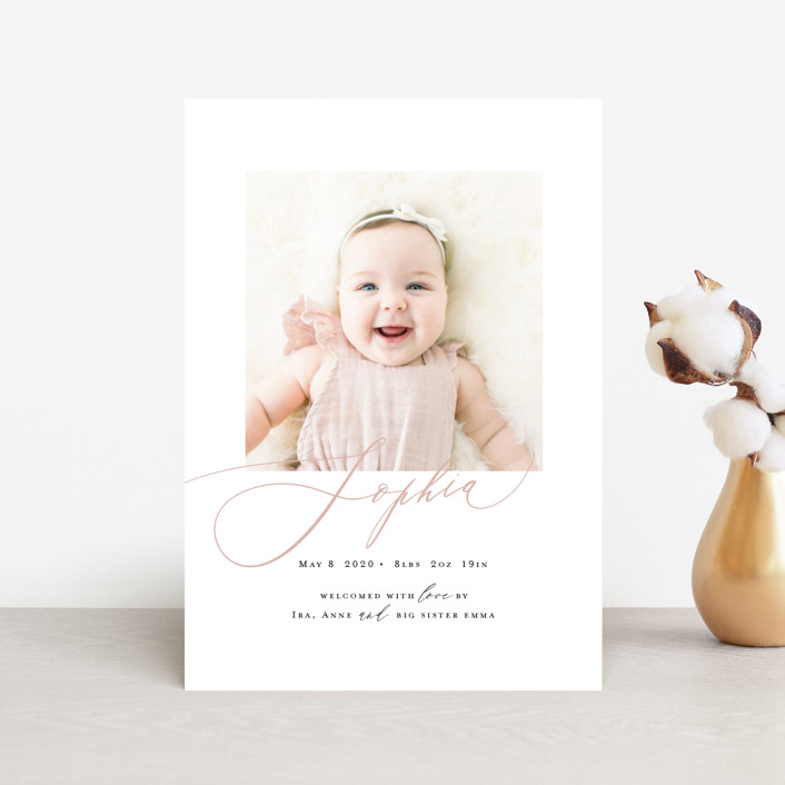 """""""Happy Baby"""" - Birth Announcement Petite Cards in Peach Bud by Benita Crandall."""
