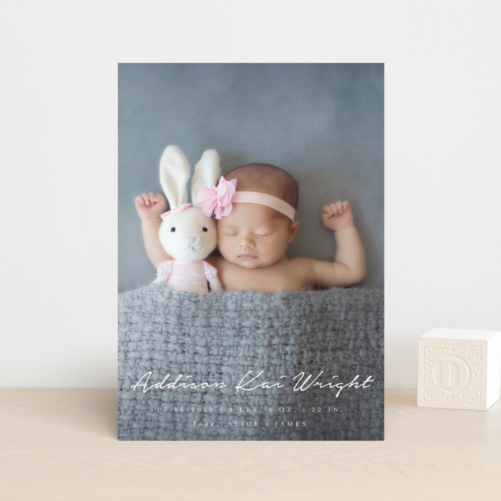 """""""written announcement"""" - Birth Announcement Petite Cards in Snow by Qing Ji."""