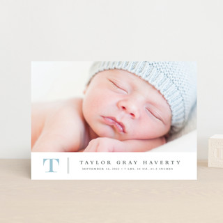 Stately monogram Birth Announcement Petite Cards