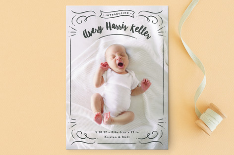 ribbon frame Birth Announcement Petite Cards