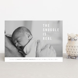 The Snuggle is Real Birth Announcement Petite Cards