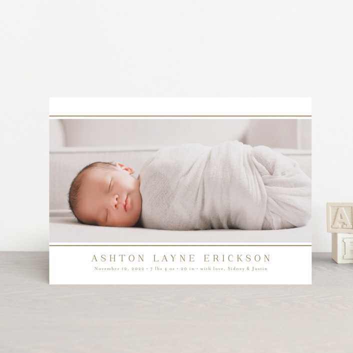 """""""Lined"""" - Birth Announcement Petite Cards in Sugar by Jessica Williams."""