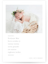 This is a grey petite birth announcement by chocomocacino called noisette with standard printing on signature in petite.