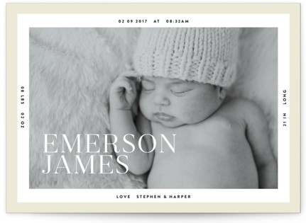 Modern Border Birth Announcement Petite Cards