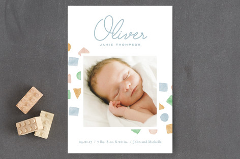 Little Blocks Birth Announcement Petite Cards