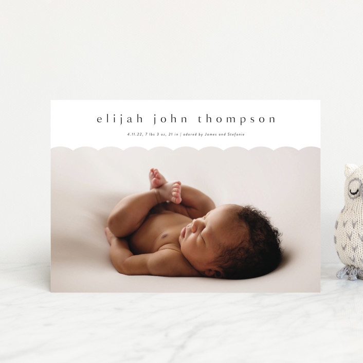 """""""Sweet Simplicity"""" - Preppy Birth Announcement Petite Cards in Onyx by Kasia Labocki."""